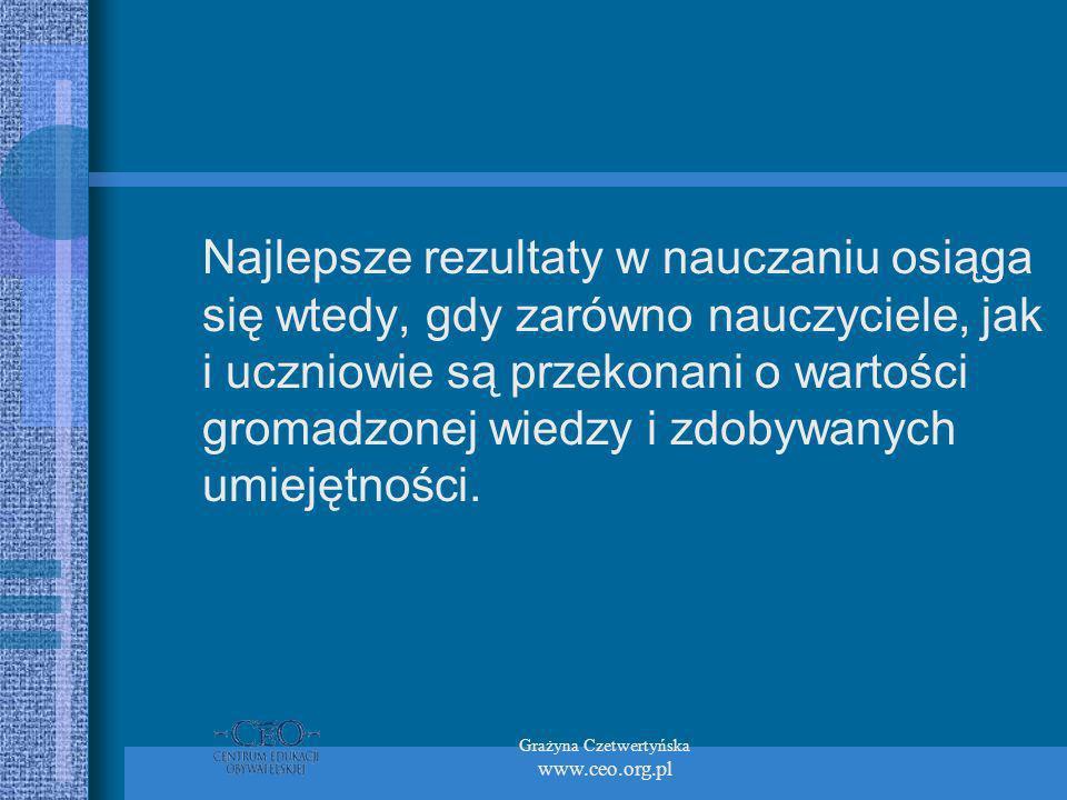 Grażyna Czetwertyńska www.ceo.org.pl Najlepsze rezultaty w nauczaniu osiąga się wtedy, gdy zarówno nauczyciele, jak i uczniowie są przekonani o wartości gromadzonej wiedzy i zdobywanych umiejętności.