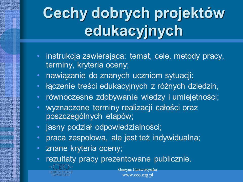Grażyna Czetwertyńska www.ceo.org.pl Cechy dobrych projektów edukacyjnych instrukcja zawierająca: temat, cele, metody pracy, terminy, kryteria oceny; nawiązanie do znanych uczniom sytuacji; łączenie treści edukacyjnych z różnych dziedzin, równoczesne zdobywanie wiedzy i umiejętności; wyznaczone terminy realizacji całości oraz poszczególnych etapów; jasny podział odpowiedzialności; praca zespołowa, ale jest też indywidualna; znane kryteria oceny; rezultaty pracy prezentowane publicznie.