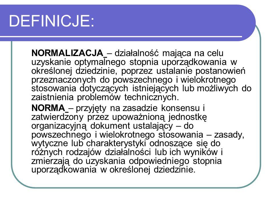 DEFINICJE: NORMALIZACJA – działalność mająca na celu uzyskanie optymalnego stopnia uporządkowania w określonej dziedzinie, poprzez ustalanie postanowi