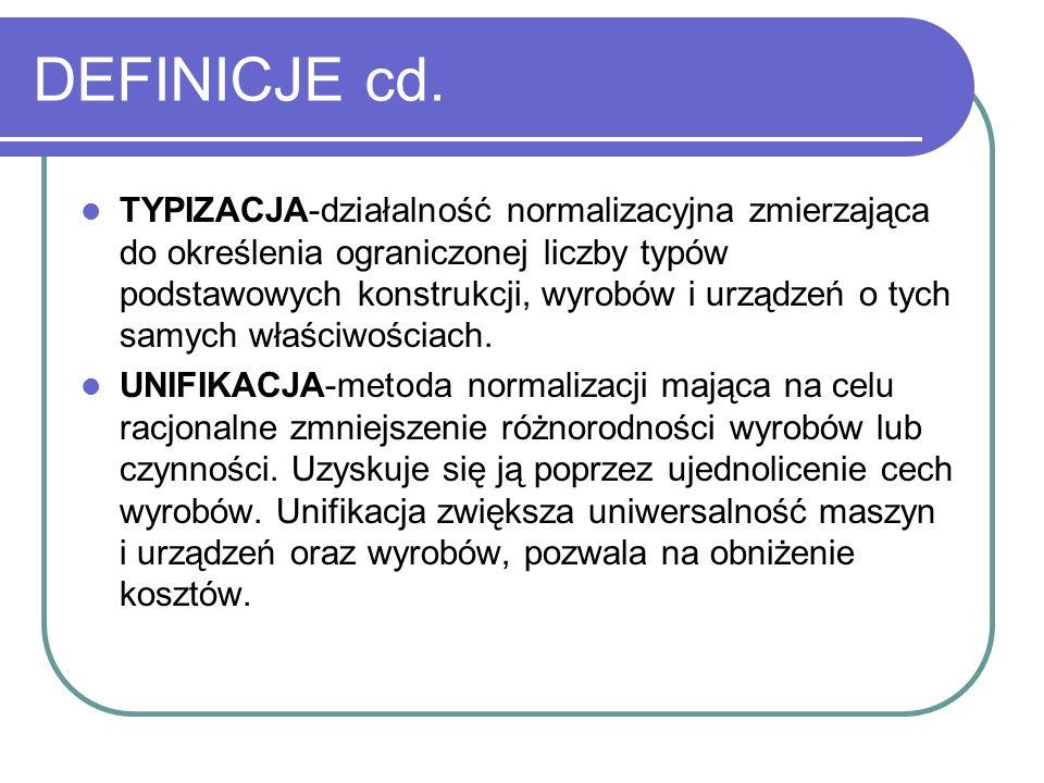 DEFINICJE cd. TYPIZACJA-działalność normalizacyjna zmierzająca do określenia ograniczonej liczby typów podstawowych konstrukcji, wyrobów i urządzeń o