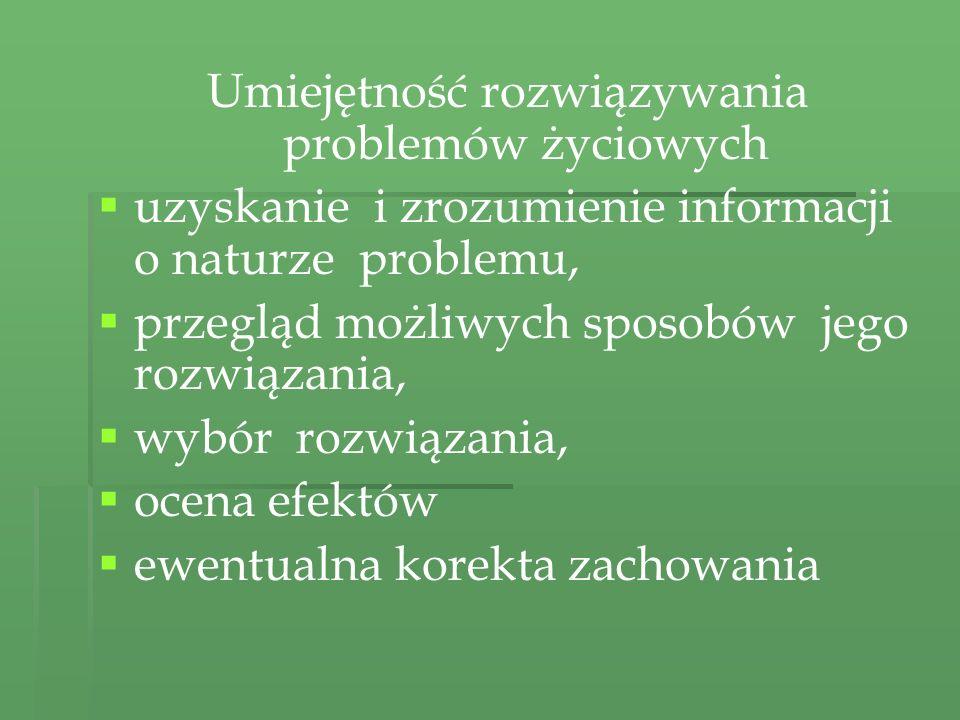 Umiejętność rozwiązywania problemów życiowych uzyskanie i zrozumienie informacji o naturze problemu, przegląd możliwych sposobów jego rozwiązania, wyb