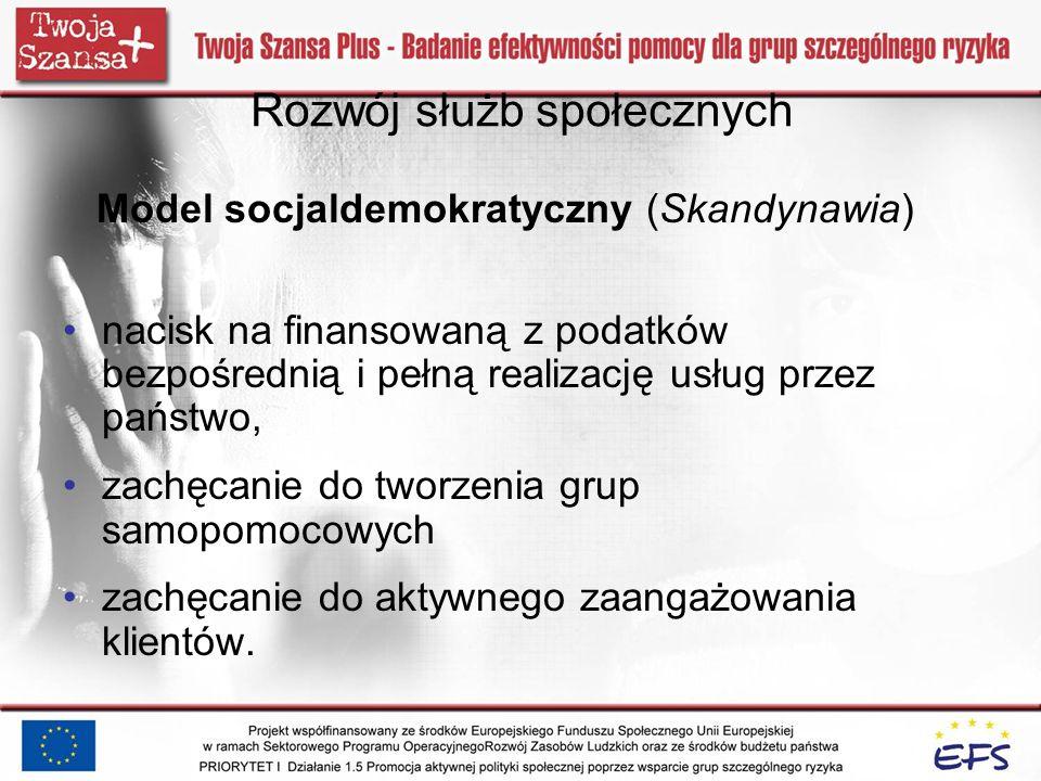 Rozwój służb społecznych Model socjaldemokratyczny (Skandynawia) nacisk na finansowaną z podatków bezpośrednią i pełną realizację usług przez państwo,