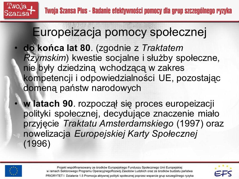 Europeizacja pomocy społecznej do końca lat 80. (zgodnie z Traktatem Rzymskim) kwestie socjalne i służby społeczne, nie były dziedziną wchodzącą w zak