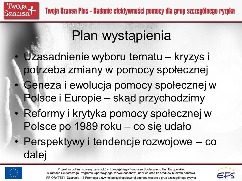 Plan wystąpienia Uzasadnienie wyboru tematu – kryzys i potrzeba zmiany w pomocy społecznej Geneza i ewolucja pomocy społecznej w Polsce i Europie – sk