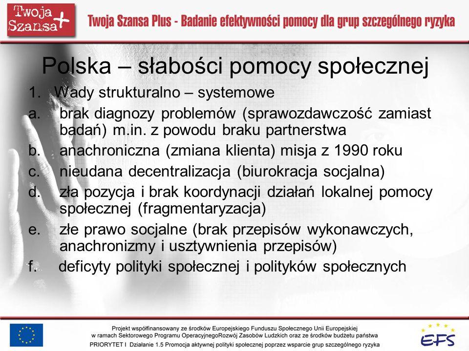 Polska – słabości pomocy społecznej 1. Wady strukturalno – systemowe a.brak diagnozy problemów (sprawozdawczość zamiast badań) m.in. z powodu braku pa