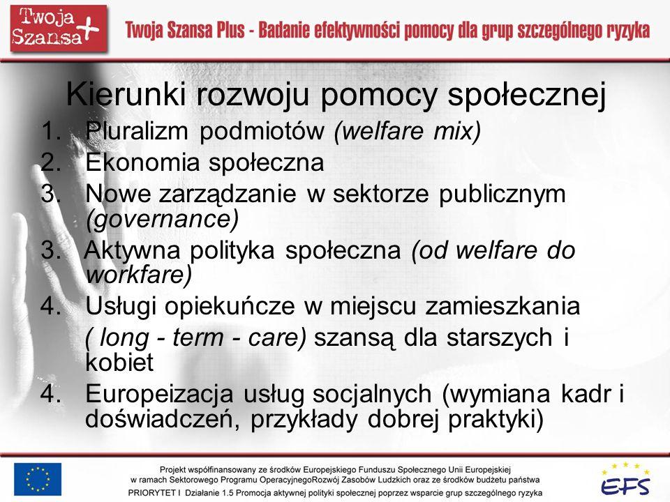 Kierunki rozwoju pomocy społecznej 1.Pluralizm podmiotów (welfare mix) 2.Ekonomia społeczna 3.Nowe zarządzanie w sektorze publicznym (governance) 3. A