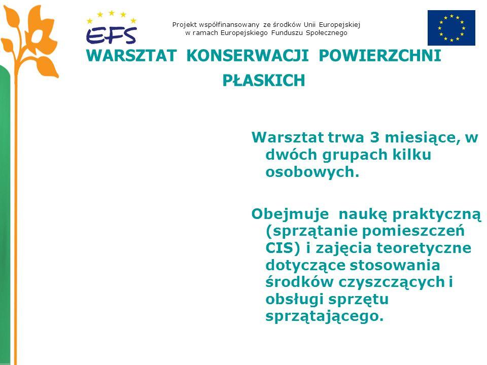 Projekt współfinansowany ze środków Unii Europejskiej w ramach Europejskiego Funduszu Społecznego WARSZTAT KONSERWACJI POWIERZCHNI PŁASKICH Warsztat trwa 3 miesiące, w dwóch grupach kilku osobowych.