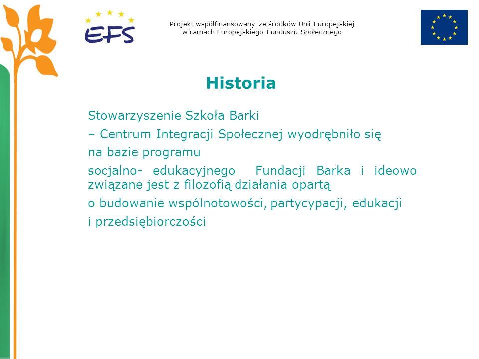 Projekt współfinansowany ze środków Unii Europejskiej w ramach Europejskiego Funduszu Społecznego Historia Stowarzyszenie Szkoła Barki – Centrum Integracji Społecznej wyodrębniło się na bazie programu socjalno- edukacyjnego Fundacji Barka i ideowo związane jest z filozofią działania opartą o budowanie wspólnotowości, partycypacji, edukacji i przedsiębiorczości