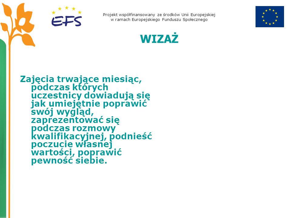 Projekt współfinansowany ze środków Unii Europejskiej w ramach Europejskiego Funduszu Społecznego WIZAŻ Zajęcia trwające miesiąc, podczas których ucze