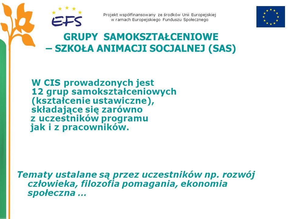 Projekt współfinansowany ze środków Unii Europejskiej w ramach Europejskiego Funduszu Społecznego GRUPY SAMOKSZTAŁCENIOWE – SZKOŁA ANIMACJI SOCJALNEJ