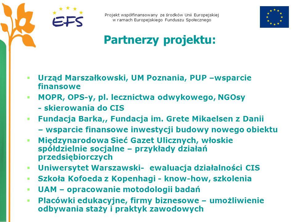 Projekt współfinansowany ze środków Unii Europejskiej w ramach Europejskiego Funduszu Społecznego Partnerzy projektu: Urząd Marszałkowski, UM Poznania, PUP –wsparcie finansowe MOPR, OPS-y, pl.