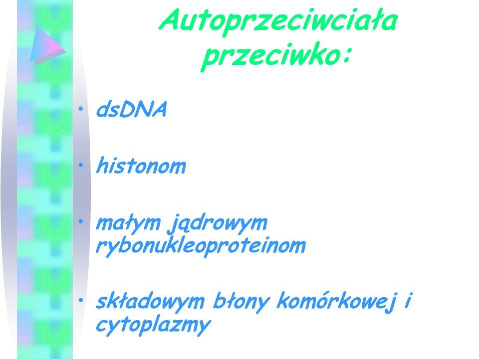 Autoprzeciwciała przeciwko: dsDNA histonom małym jądrowym rybonukleoproteinom składowym błony komórkowej i cytoplazmy