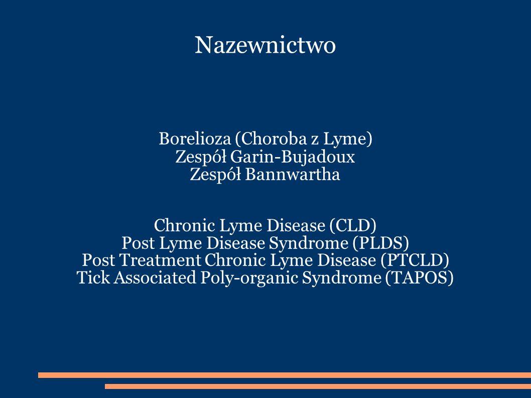 Nazewnictwo Borelioza (Choroba z Lyme) Zespół Garin-Bujadoux Zespół Bannwartha Chronic Lyme Disease (CLD) Post Lyme Disease Syndrome (PLDS) Post Treatment Chronic Lyme Disease (PTCLD) Tick Associated Poly-organic Syndrome (TAPOS)