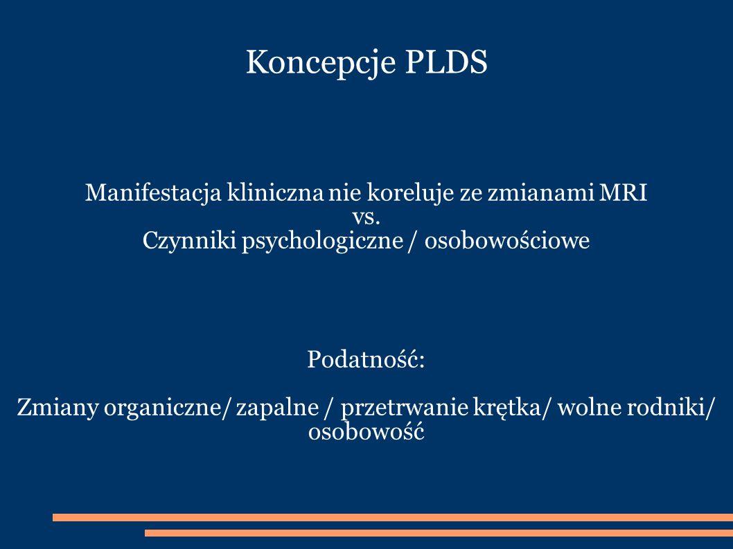 Koncepcje PLDS Manifestacja kliniczna nie koreluje ze zmianami MRI vs.
