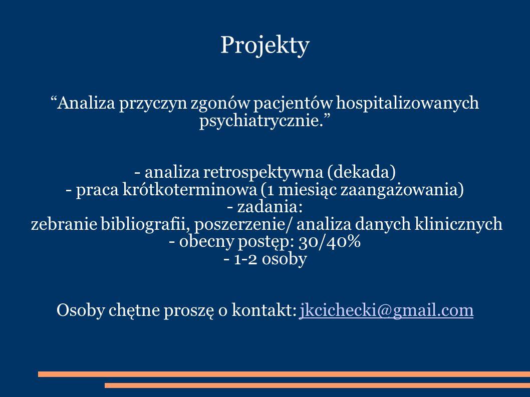 Projekty Analiza przyczyn zgonów pacjentów hospitalizowanych psychiatrycznie.