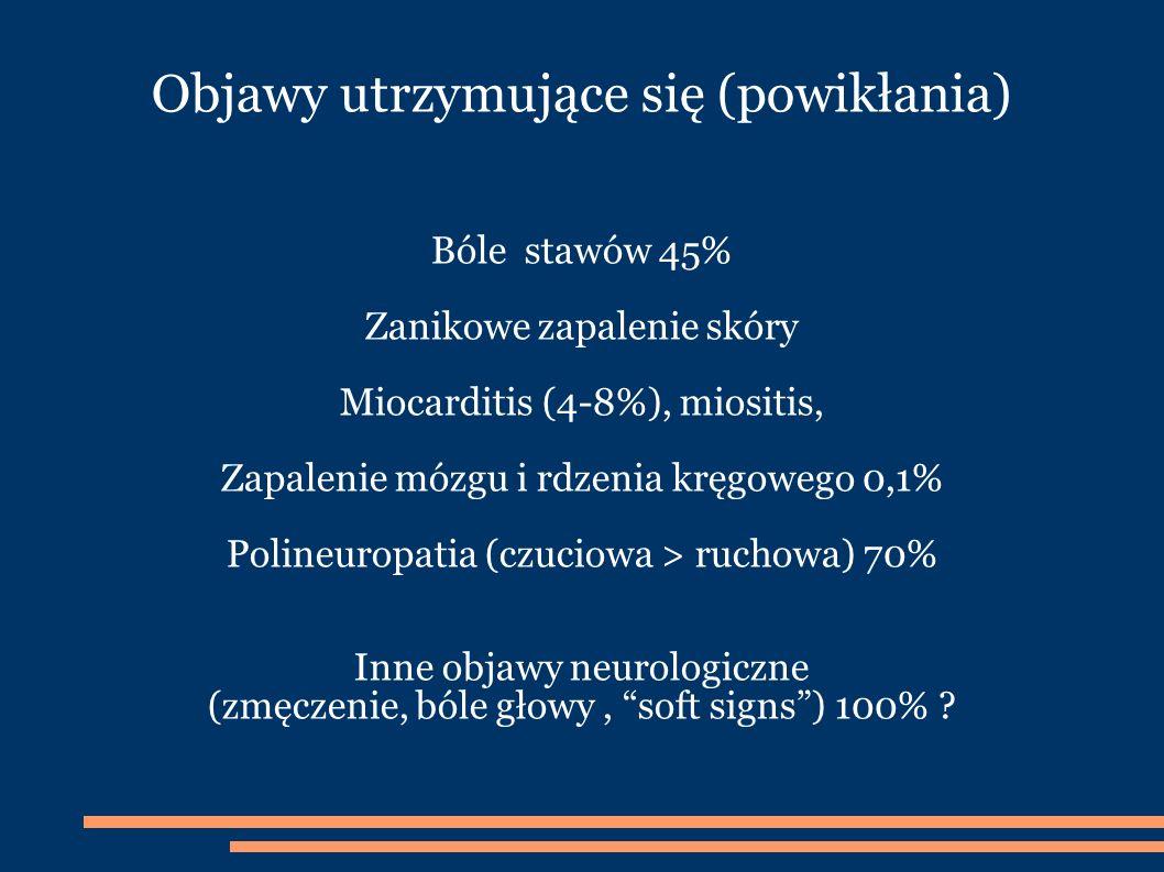 Objawy utrzymujące się (powikłania) Bóle stawów 45% Zanikowe zapalenie skóry Miocarditis (4-8%), miositis, Zapalenie mózgu i rdzenia kręgowego 0,1% Polineuropatia (czuciowa > ruchowa) 70% Inne objawy neurologiczne (zmęczenie, bóle głowy, soft signs) 100% ?