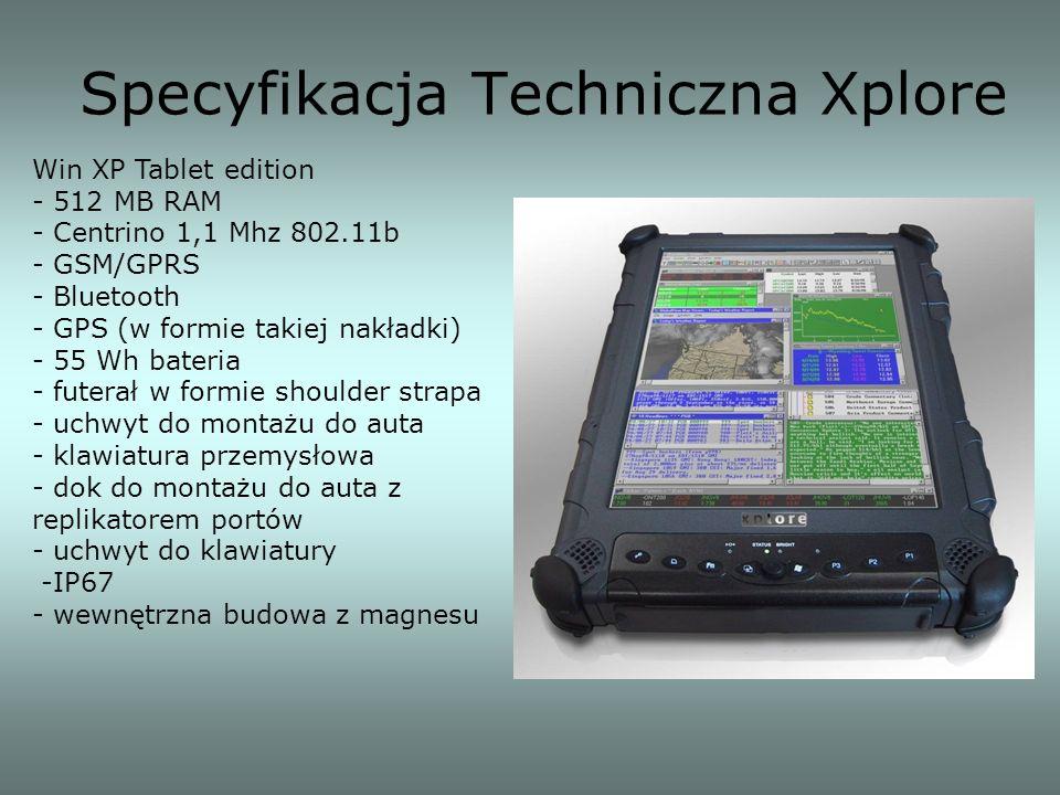 Specyfikacja Techniczna Xplore Win XP Tablet edition - 512 MB RAM - Centrino 1,1 Mhz 802.11b - GSM/GPRS - Bluetooth - GPS (w formie takiej nakładki) -