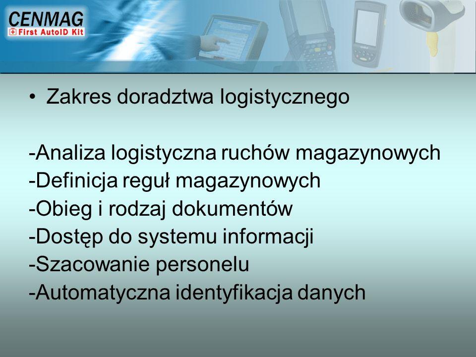 Zakres doradztwa logistycznego -Analiza logistyczna ruchów magazynowych -Definicja reguł magazynowych -Obieg i rodzaj dokumentów -Dostęp do systemu in