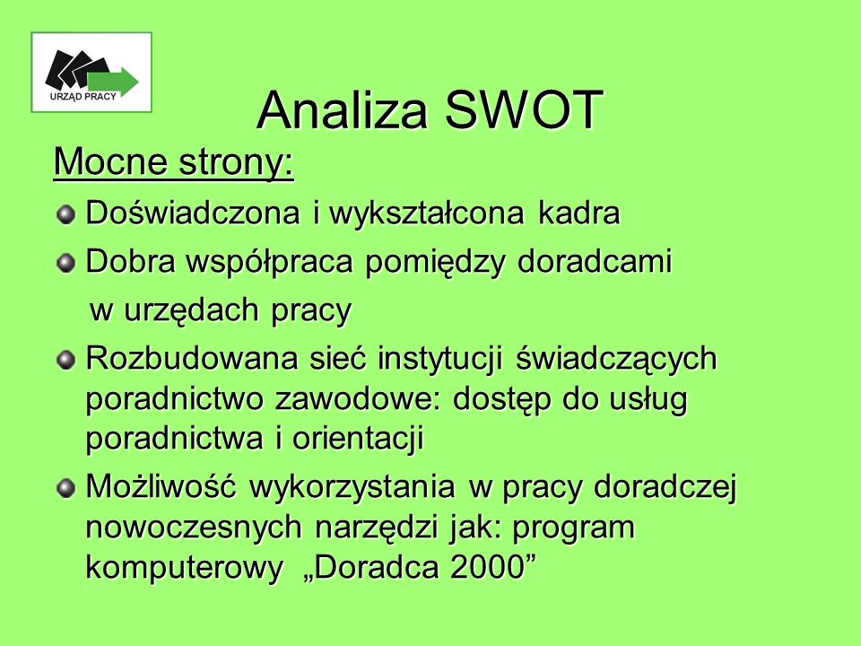 Analiza SWOT c.d.
