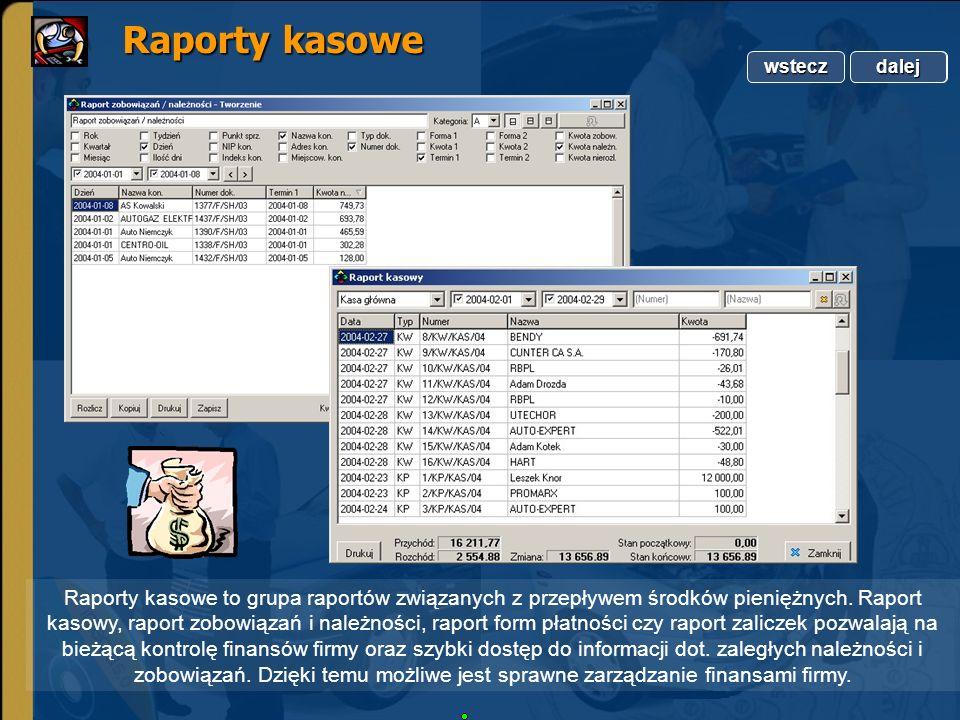 Copyright by Integra Software. Wszelkie prawa zastrzeżone. Raporty kasowe Raporty kasowe Raporty kasowe to grupa raportów związanych z przepływem środ