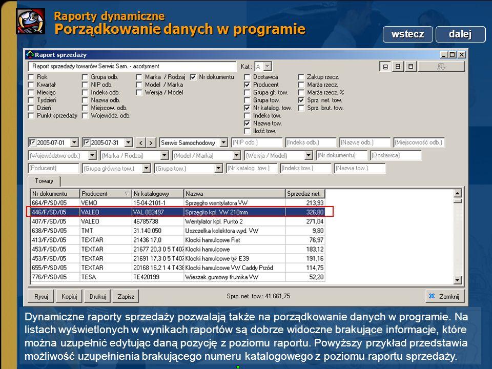Copyright by Integra Software. Wszelkie prawa zastrzeżone. Raporty dynamiczne Porządkowanie danych w programie Raporty dynamiczne Porządkowanie danych