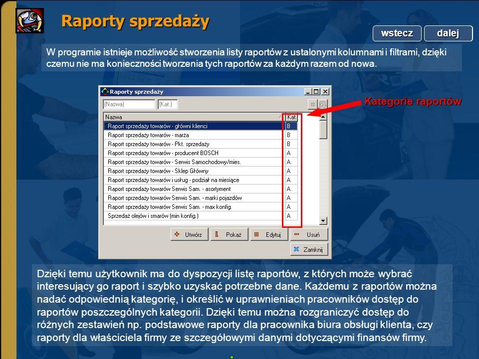 Copyright by Integra Software. Wszelkie prawa zastrzeżone. Raporty sprzedaży Raporty sprzedaży dalej wstecz dalej W programie istnieje możliwość stwor