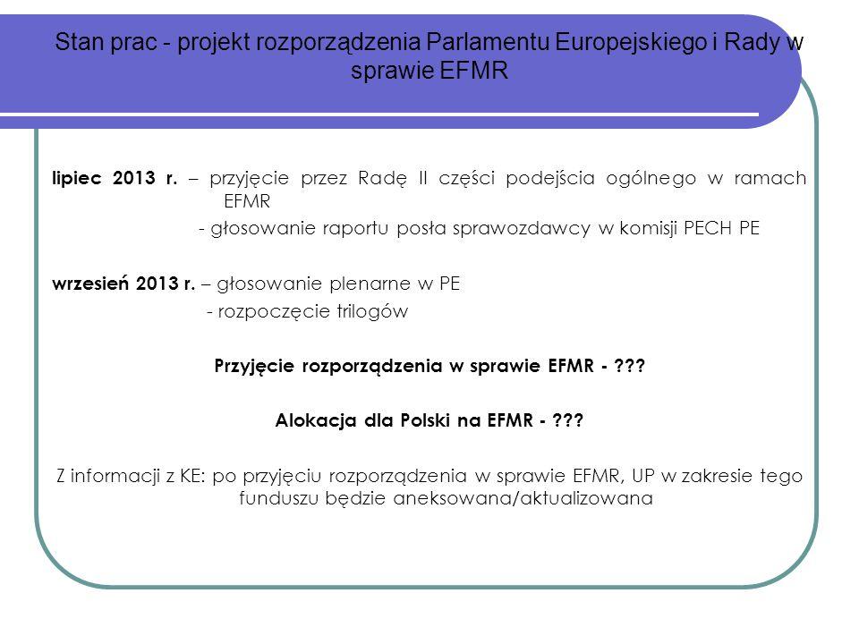 lipiec 2013 r. – przyjęcie przez Radę II części podejścia ogólnego w ramach EFMR - głosowanie raportu posła sprawozdawcy w komisji PECH PE wrzesień 20
