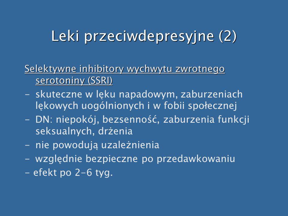 Leki przeciwdepresyjne (2) Selektywne inhibitory wychwytu zwrotnego serotoniny (SSRI) -skuteczne w lęku napadowym, zaburzeniach lękowych uogólnionych