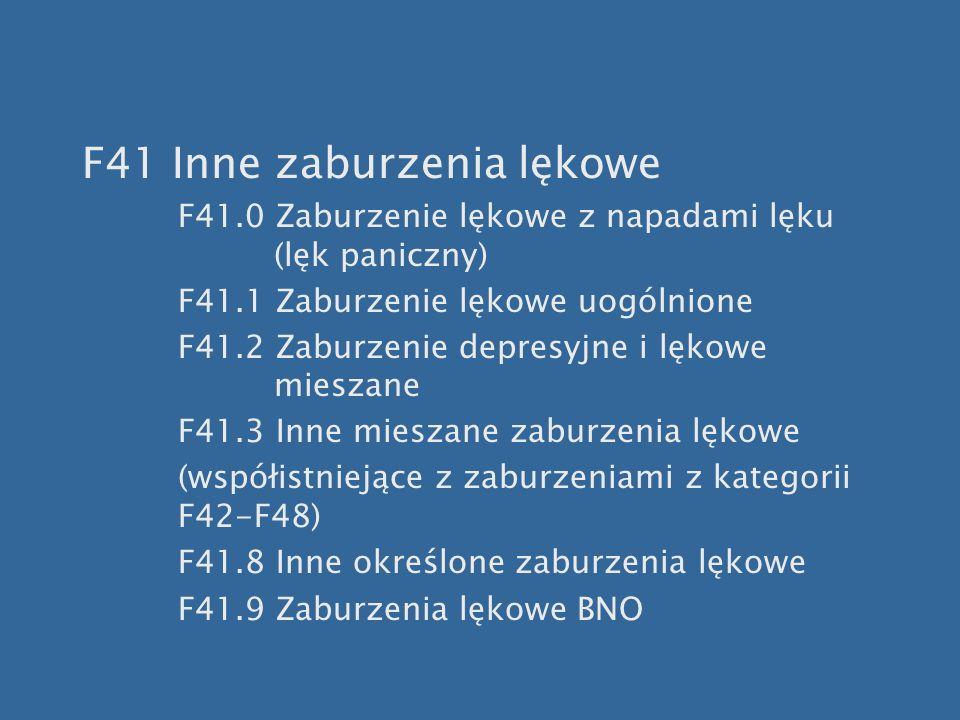 F41 Inne zaburzenia lękowe F41.0 Zaburzenie lękowe z napadami lęku (lęk paniczny) F41.1 Zaburzenie lękowe uogólnione F41.2 Zaburzenie depresyjne i lęk