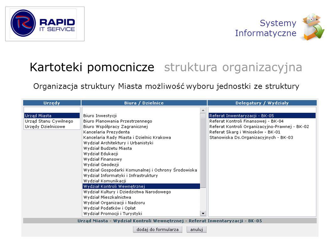 Organizacja struktury Miasta możliwość wyboru jednostki ze struktury Kartoteki pomocnicze struktura organizacyjna Systemy Informatyczne