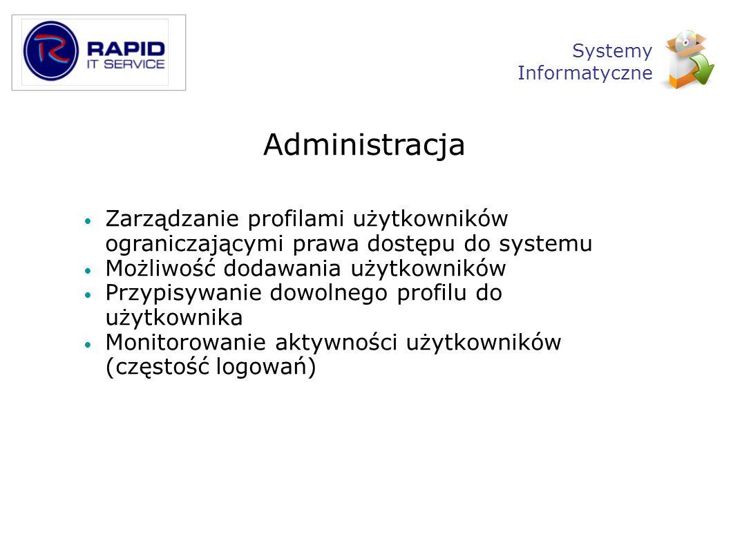 Administracja Zarządzanie profilami użytkowników ograniczającymi prawa dostępu do systemu Możliwość dodawania użytkowników Przypisywanie dowolnego pro