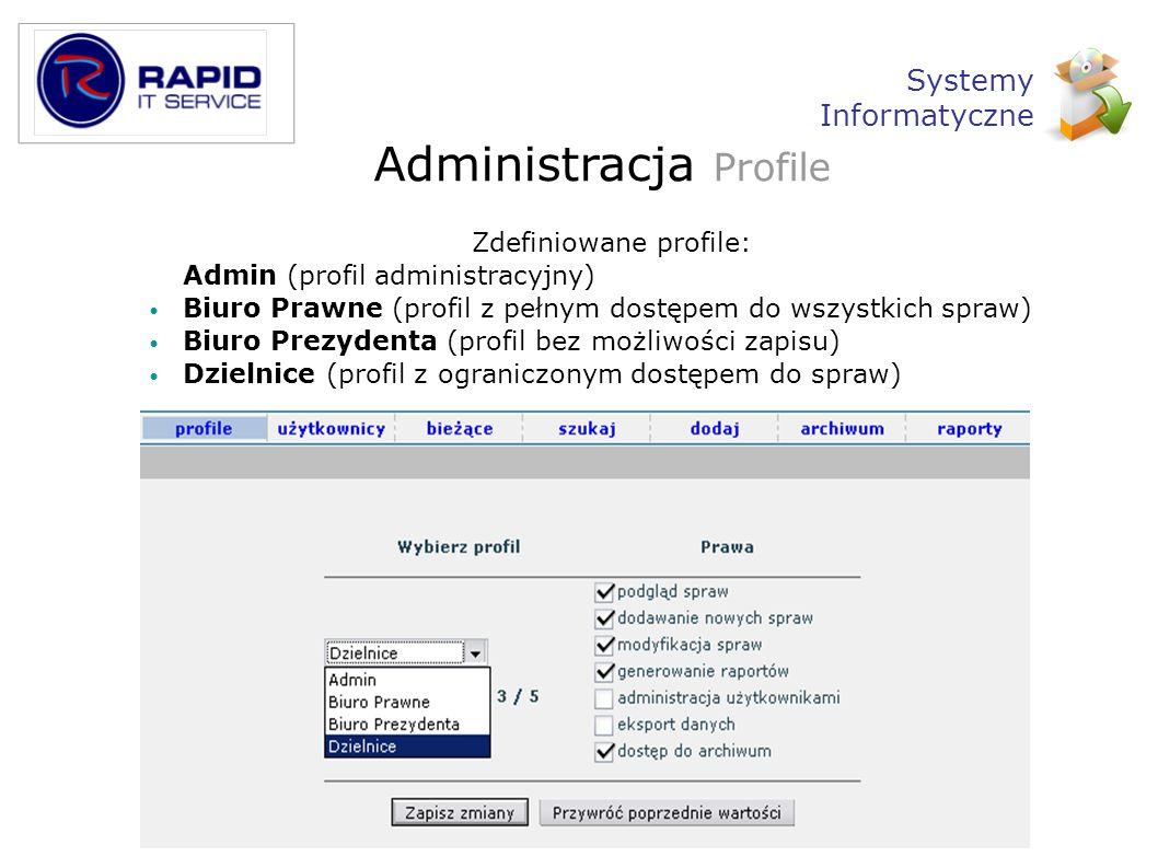 Administracja Profile Zdefiniowane profile: Admin (profil administracyjny) Biuro Prawne (profil z pełnym dostępem do wszystkich spraw) Biuro Prezydent