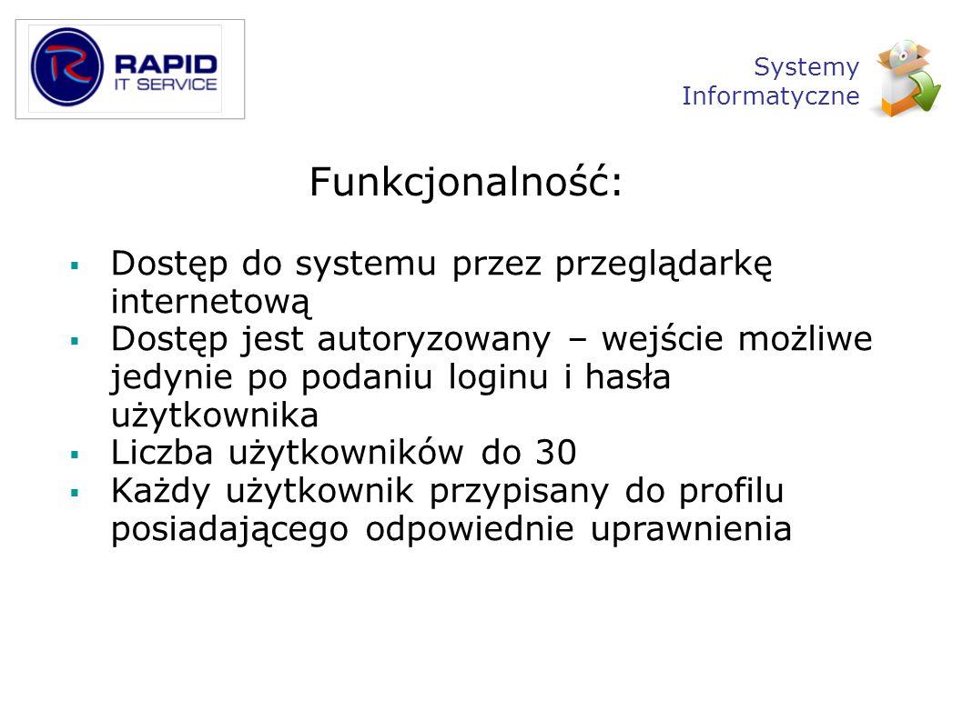 Funkcjonalność: Dostęp do systemu przez przeglądarkę internetową Dostęp jest autoryzowany – wejście możliwe jedynie po podaniu loginu i hasła użytkown