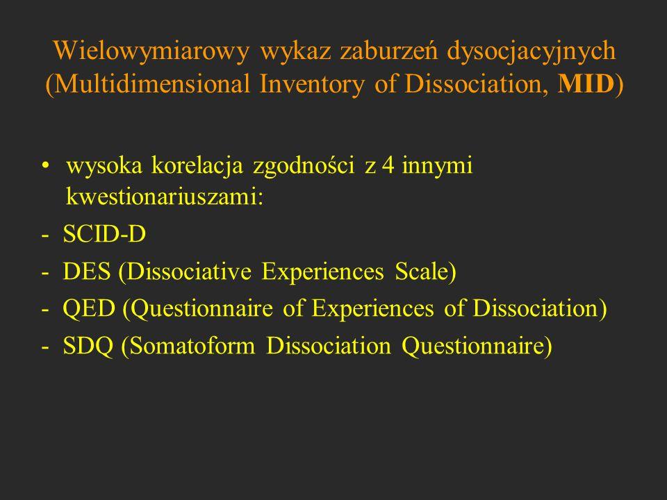 Wielowymiarowy wykaz zaburzeń dysocjacyjnych (Multidimensional Inventory of Dissociation, MID) wysoka korelacja zgodności z 4 innymi kwestionariuszami
