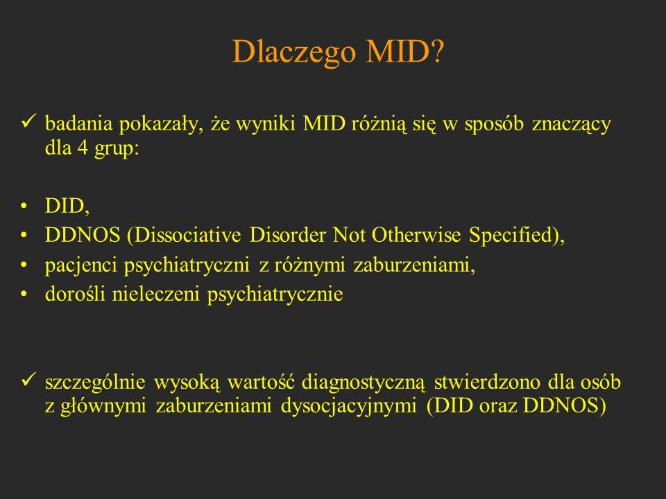 Dlaczego MID? badania pokazały, że wyniki MID różnią się w sposób znaczący dla 4 grup: DID, DDNOS (Dissociative Disorder Not Otherwise Specified), pac