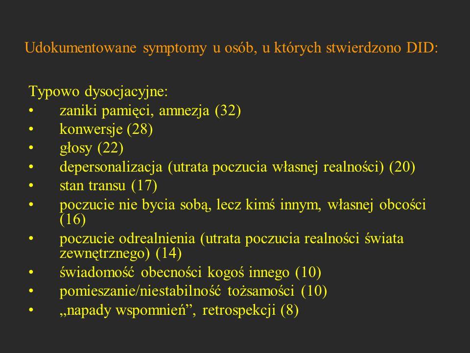 Udokumentowane symptomy u osób, u których stwierdzono DID: Typowo dysocjacyjne: zaniki pamięci, amnezja (32) konwersje (28) głosy (22) depersonalizacj