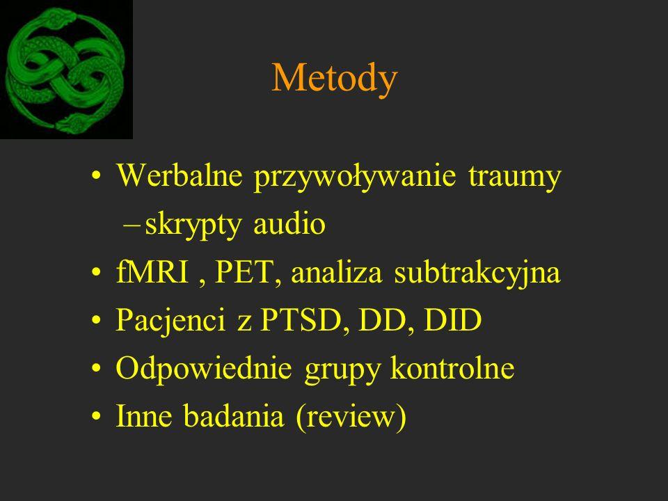 Metody Werbalne przywoływanie traumy –skrypty audio fMRI, PET, analiza subtrakcyjna Pacjenci z PTSD, DD, DID Odpowiednie grupy kontrolne Inne badania