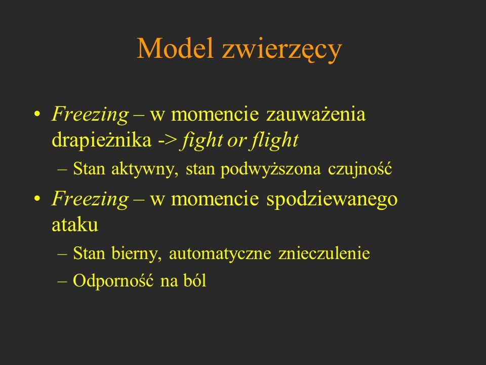 Model zwierzęcy Freezing – w momencie zauważenia drapieżnika -> fight or flight –Stan aktywny, stan podwyższona czujność Freezing – w momencie spodzie