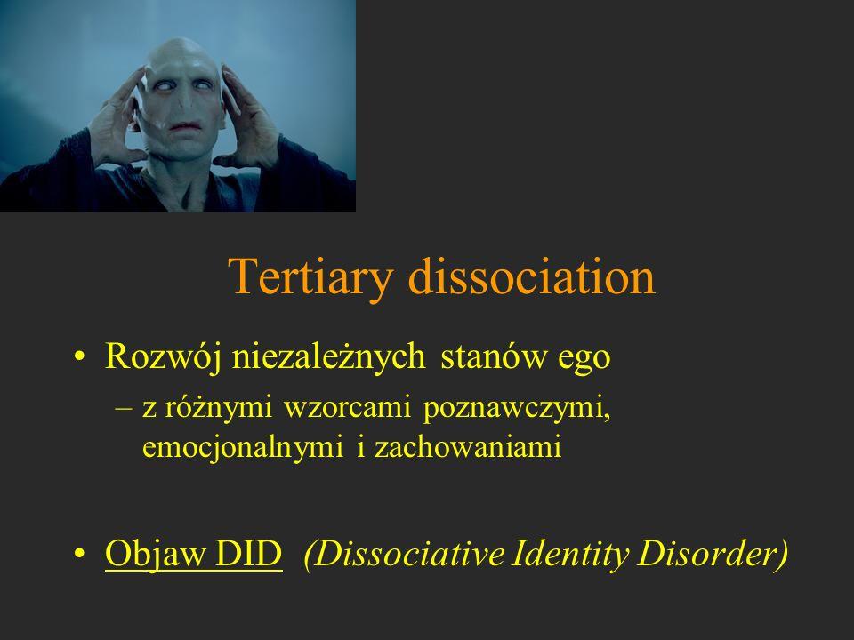 Tertiary dissociation Rozwój niezależnych stanów ego –z różnymi wzorcami poznawczymi, emocjonalnymi i zachowaniami Objaw DID (Dissociative Identity Di