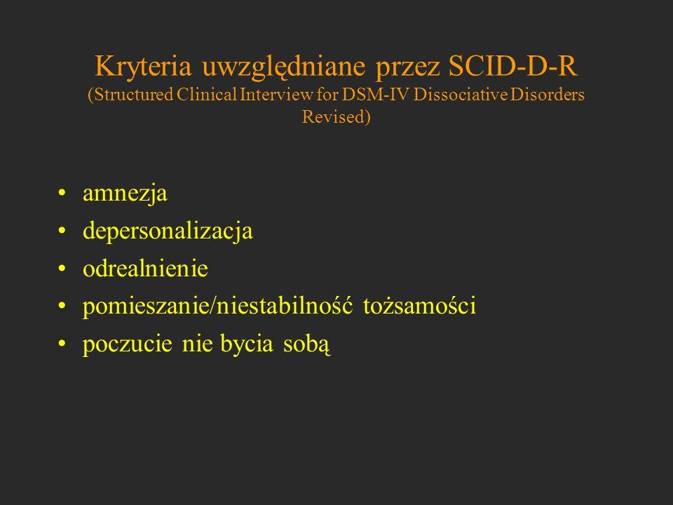 Kryteria uwzględniane przez SCID-D-R (Structured Clinical Interview for DSM-IV Dissociative Disorders Revised) amnezja depersonalizacja odrealnienie p