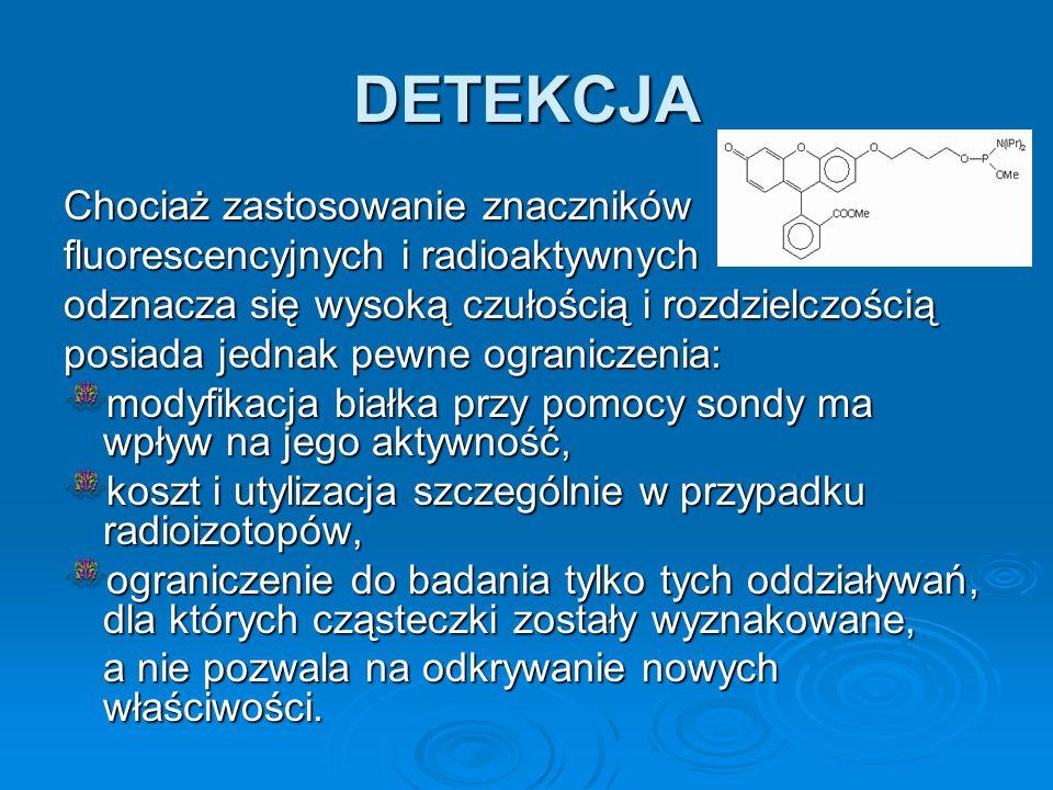 DETEKCJA Chociaż zastosowanie znaczników fluorescencyjnych i radioaktywnych odznacza się wysoką czułością i rozdzielczością posiada jednak pewne ogran