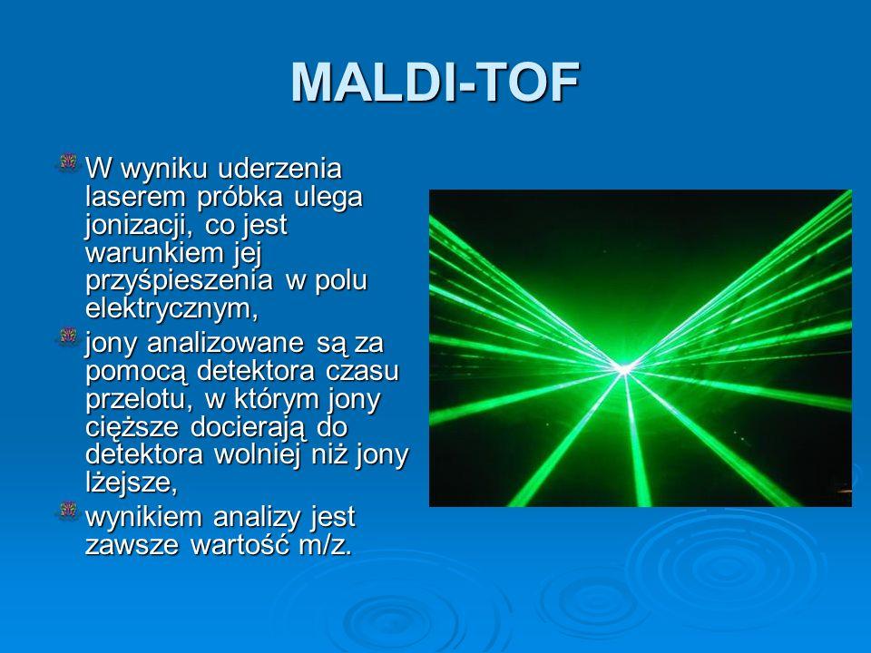 MALDI-TOF W wyniku uderzenia laserem próbka ulega jonizacji, co jest warunkiem jej przyśpieszenia w polu elektrycznym, jony analizowane są za pomocą d