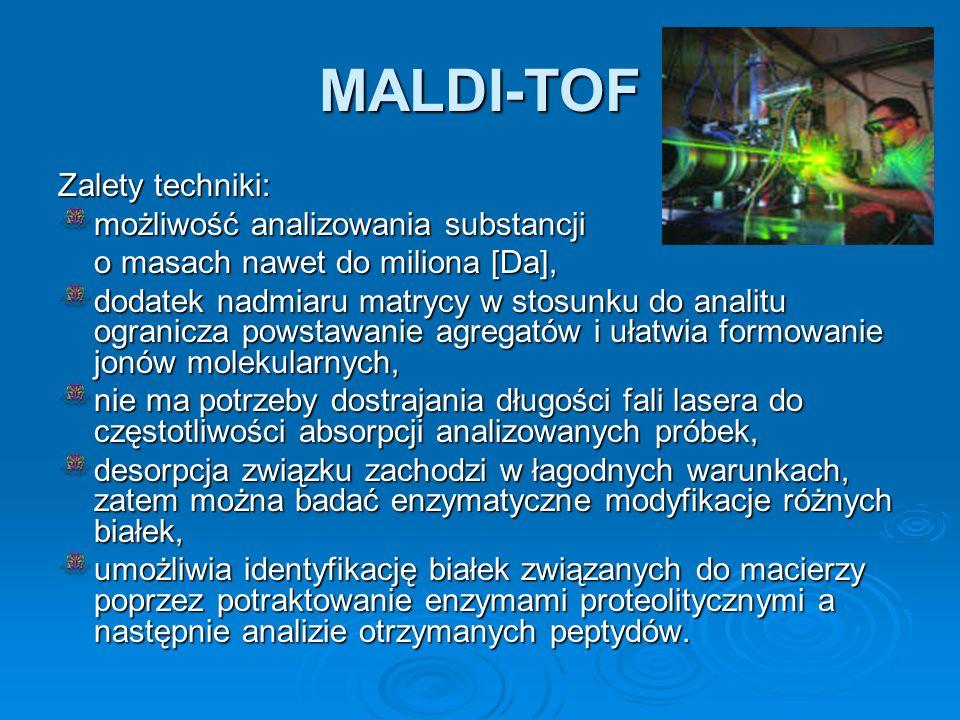 MALDI-TOF Zalety techniki: możliwość analizowania substancji o masach nawet do miliona [Da], dodatek nadmiaru matrycy w stosunku do analitu ogranicza