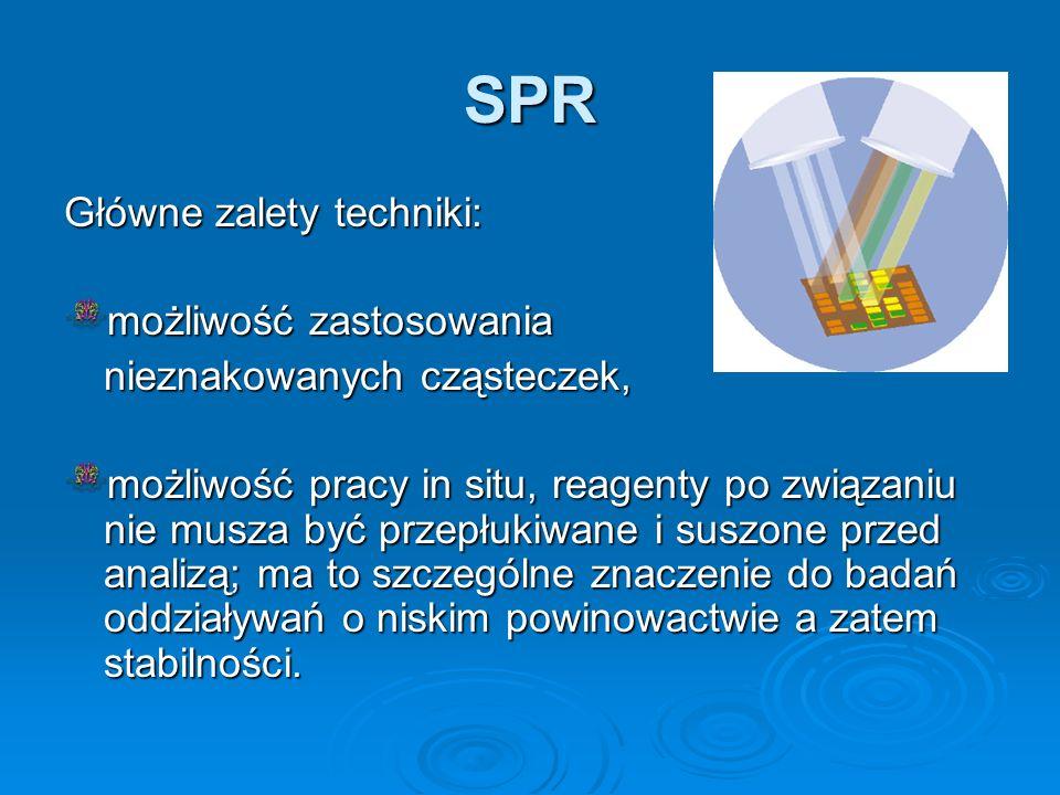 SPR Główne zalety techniki: możliwość zastosowania nieznakowanych cząsteczek, możliwość pracy in situ, reagenty po związaniu nie musza być przepłukiwa