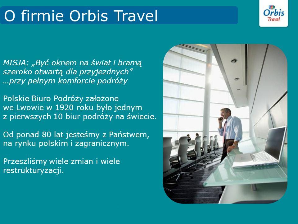 Jesteśmy największym biurem podróży w Polsce Wchodzimy w skład Grupy ORBIS Specjalizujemy się w : turystyce wyjazdowej: kilkaset programów turystycznych w 70 krajach, na 5 kontynentach turystyce przyjazdowej: Wycieczki: tematyczne, city breaks Pobyty wypoczynkowe, Hotele w Polsce Konferencje i kongresy, Polowania Uzdrowiska turystyce krajowej obsłudze podróżniczej: bilety lotnicze, bilety kolejowe, promowe, itp.