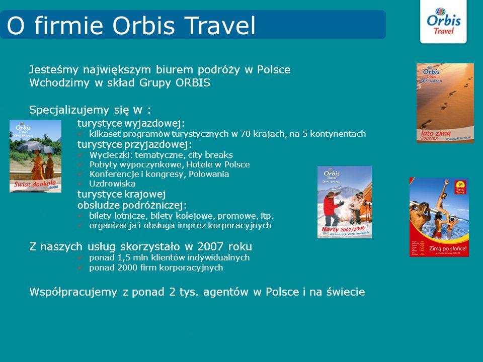 Jesteśmy największym biurem podróży w Polsce Wchodzimy w skład Grupy ORBIS Specjalizujemy się w : turystyce wyjazdowej: kilkaset programów turystyczny