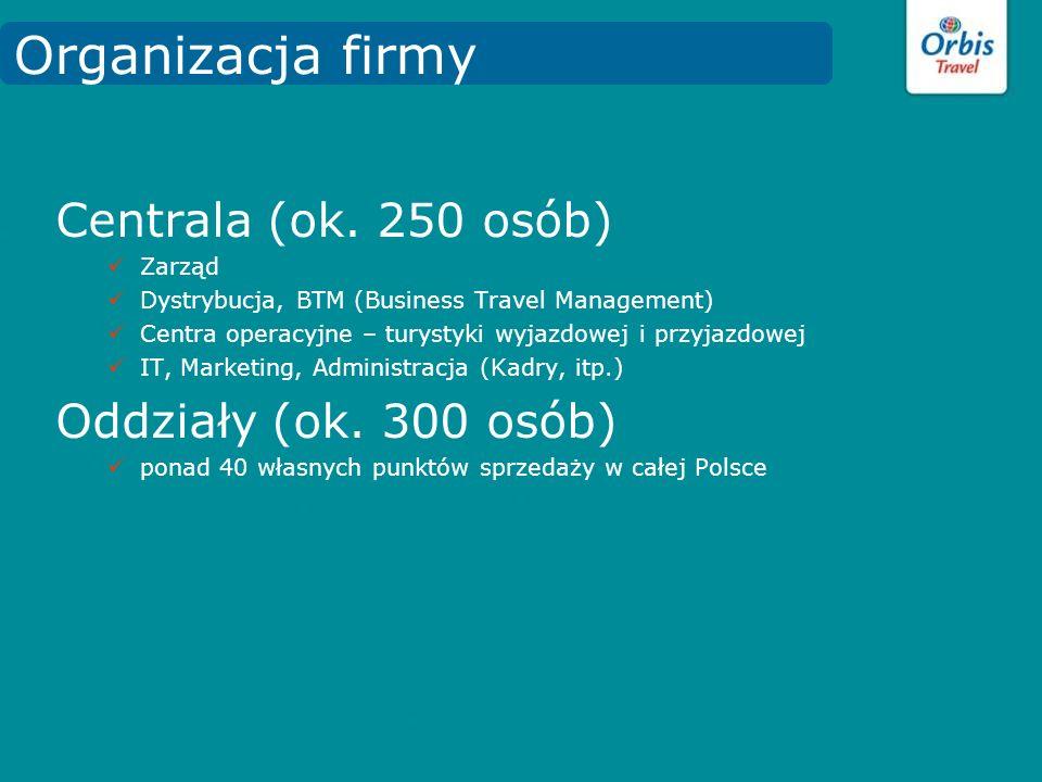 Centrala (ok. 250 osób) Zarząd Dystrybucja, BTM (Business Travel Management) Centra operacyjne – turystyki wyjazdowej i przyjazdowej IT, Marketing, Ad