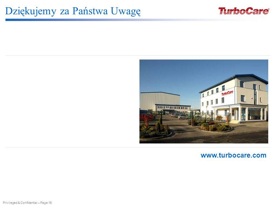 Privileged & Confidential – Page 15 Dziękujemy za Państwa Uwagę www.turbocare.com