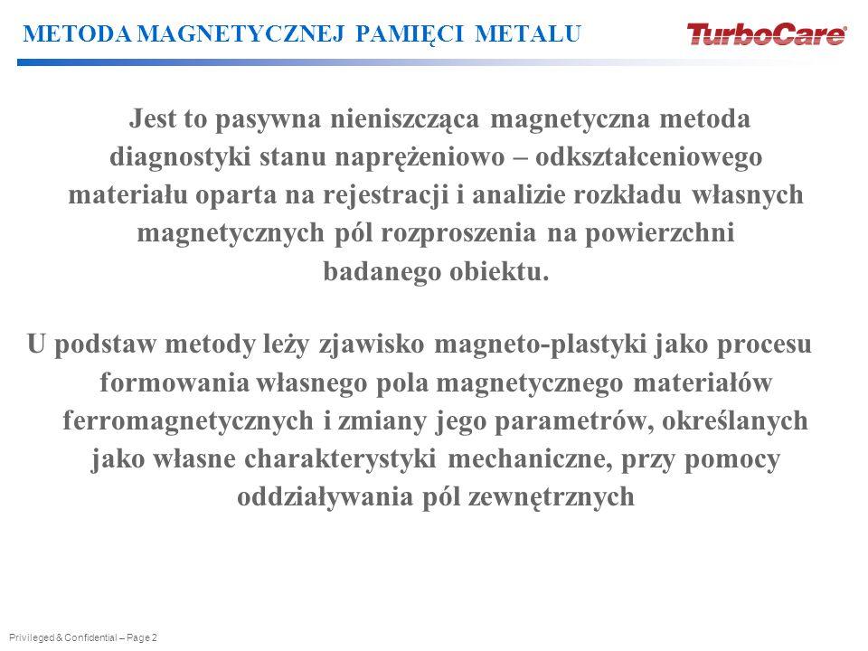 Privileged & Confidential – Page 2 METODA MAGNETYCZNEJ PAMIĘCI METALU Jest to pasywna nieniszcząca magnetyczna metoda diagnostyki stanu naprężeniowo –