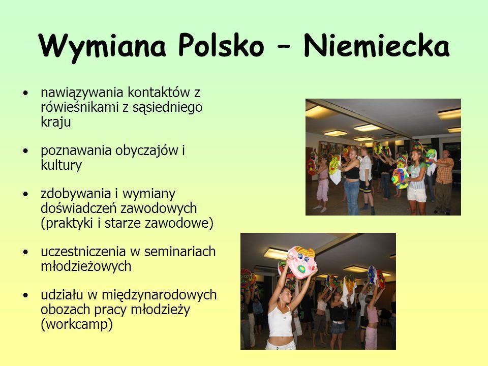 Wymiana Polsko – Niemiecka nawiązywania kontaktów z rówieśnikami z sąsiedniego kraju poznawania obyczajów i kultury zdobywania i wymiany doświadczeń z